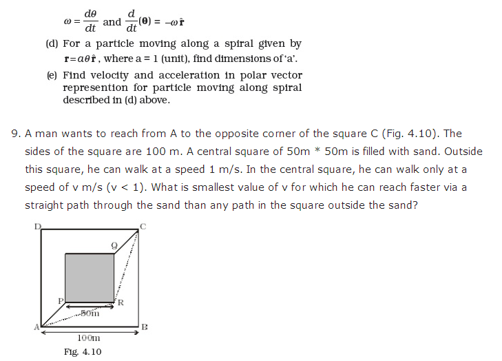 important questions class 11 physics chapter 3 motion plane 9