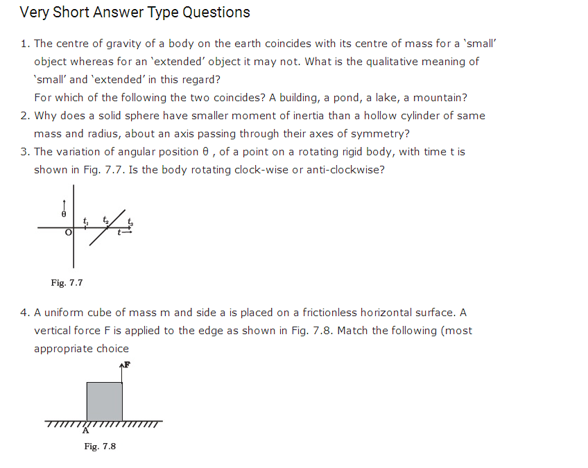 important questions class 11 physics chapter 6 system particles rotational motion 1