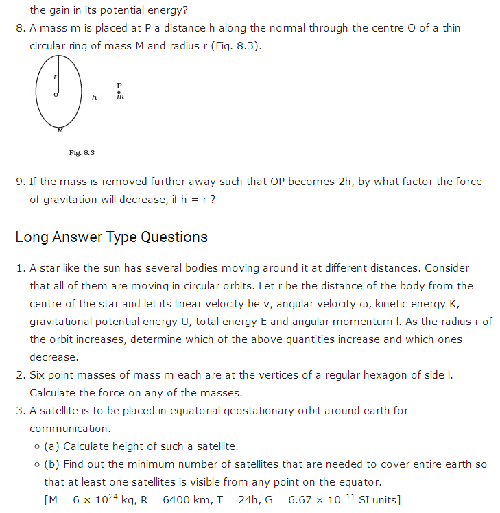 important questions class 11 physics chapter 7 gravitation 3