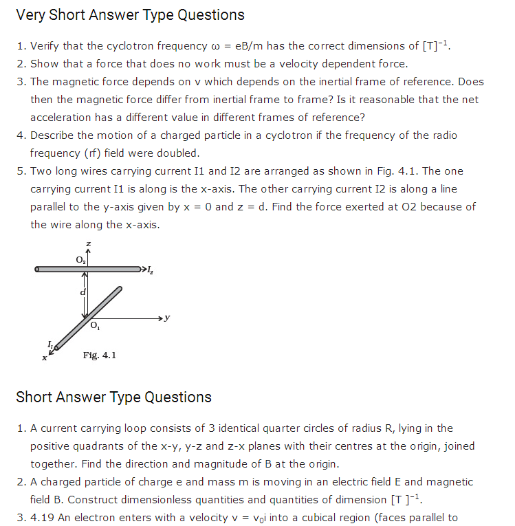 important questions class 12 physics chapter 4 moving charges magnetism 1