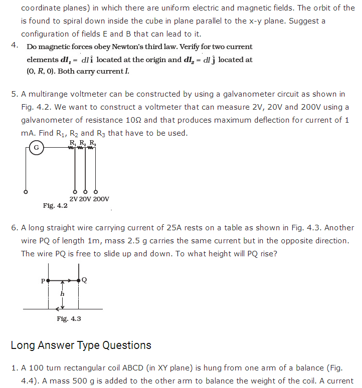 important questions class 12 physics chapter 4 moving charges magnetism 2