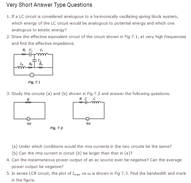 important questions class 12 physics chapter 7 alternating current 1