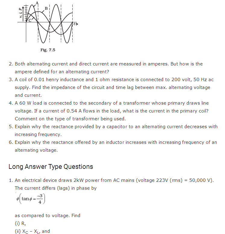 important questions class 12 physics chapter 7 alternating current 3
