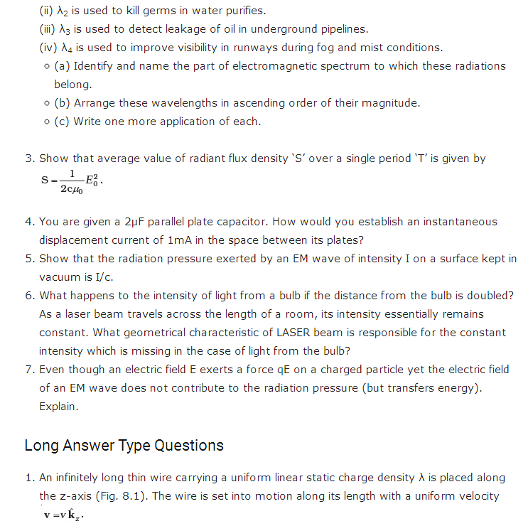 important questions class 12 physics chapter 8 electromagnetic waves 2