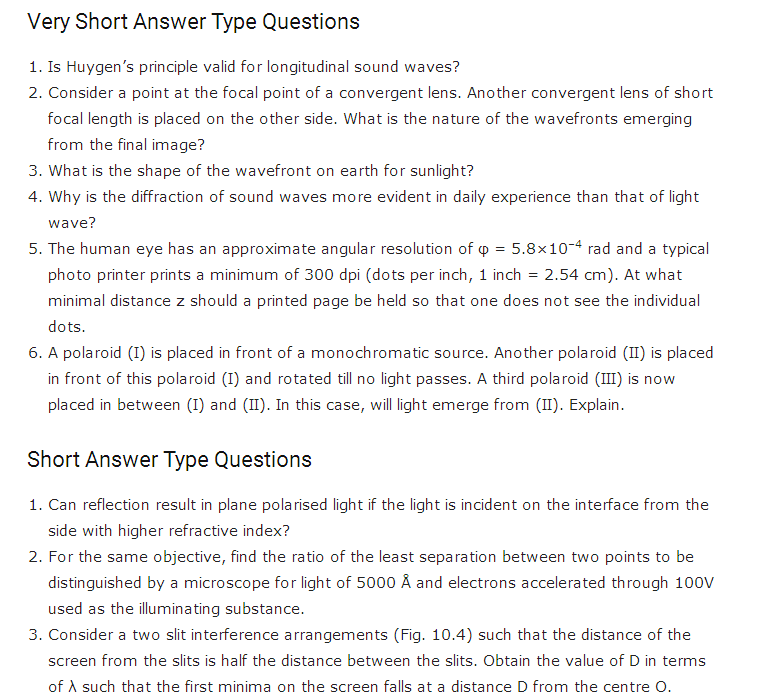 important questions class 12 physics chapter 10 wave optics 1