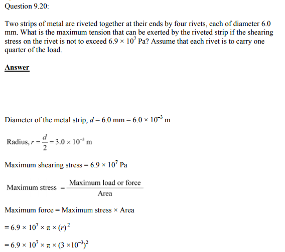 Physics Numericals Class 11 Chapter 9 56