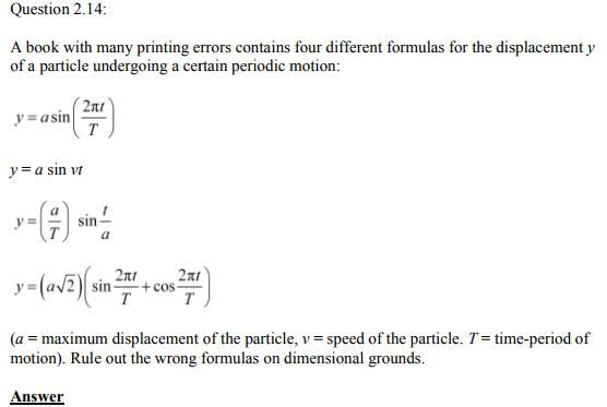Physics Numericals Class 11  Chapter 2 31