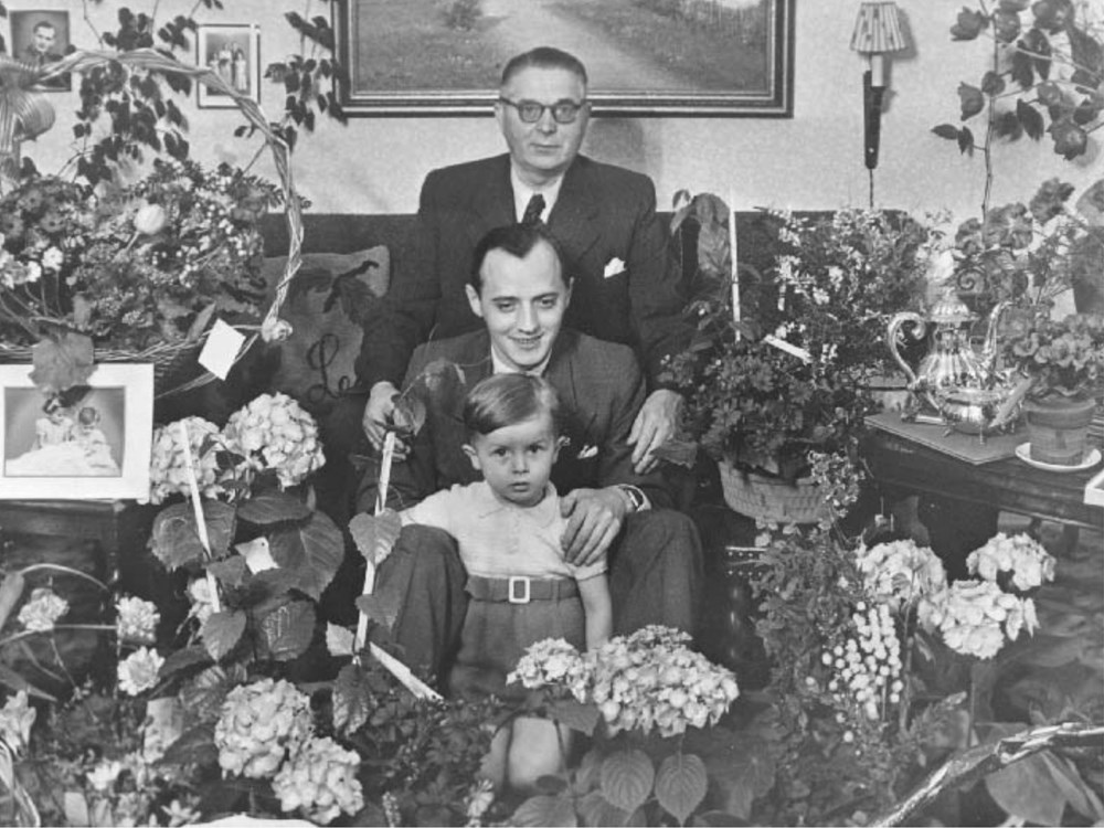 The famous three-generation picture of Ole Kirk Christiansen, his son Godtfred Kirk Christiansen, and his grandson Kjeld Kirk Kristiansen