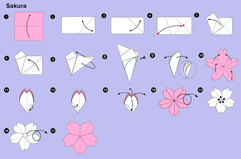DIY Origami sakura flower