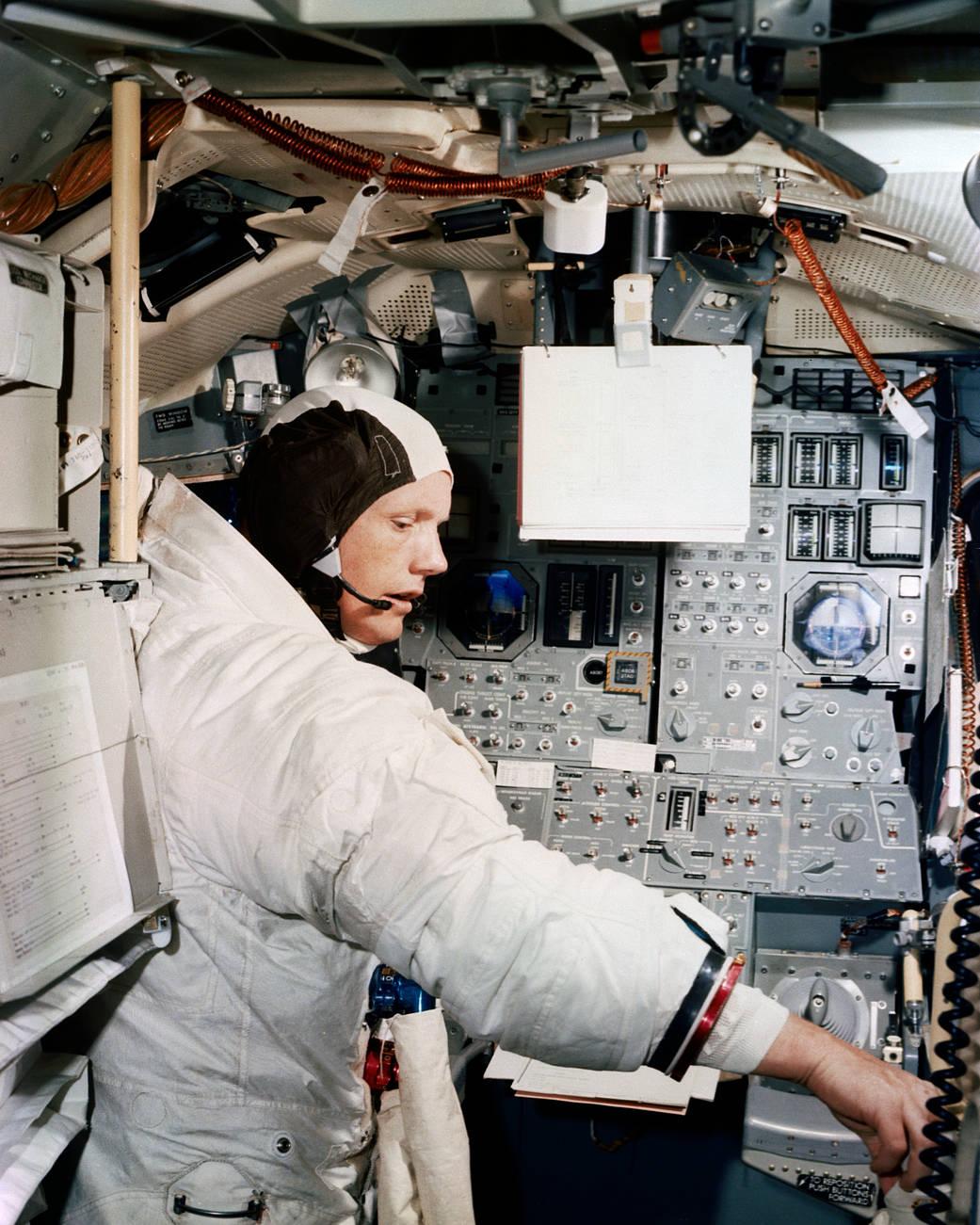Neil Armstrong inside the Apollo 11 spaceship