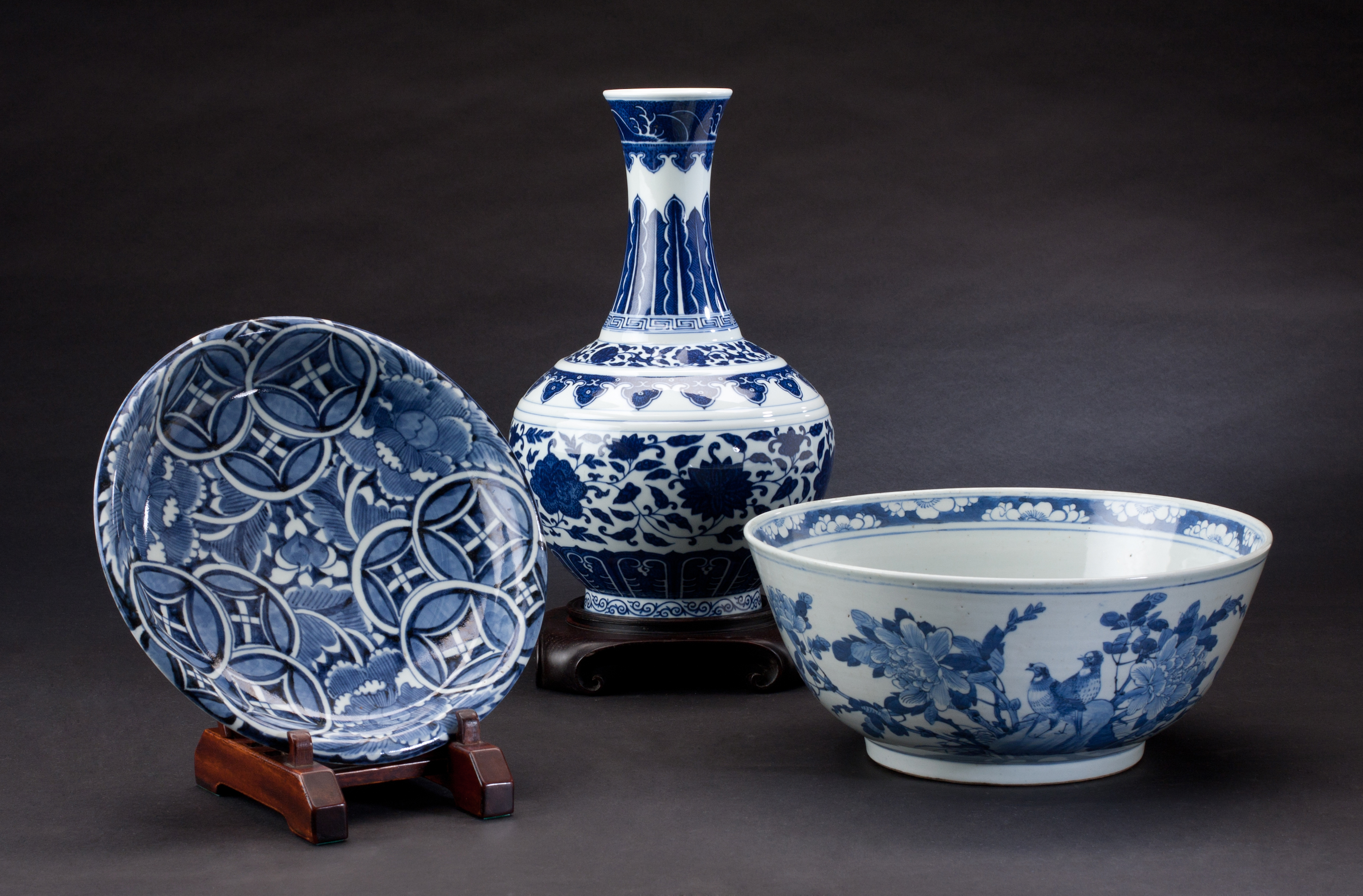 Chinese porcelain ware: a plate, a vase and a bowl.