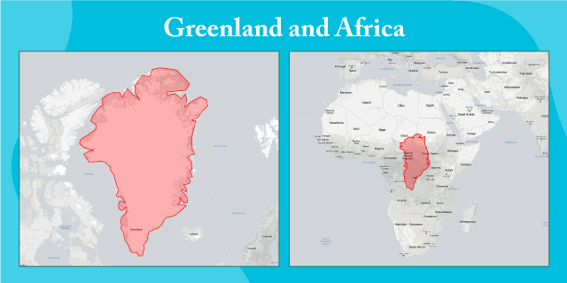 map comparing size of Greenland and Africa at scale
