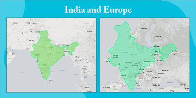 map showing size of India in relation to Europe at scale