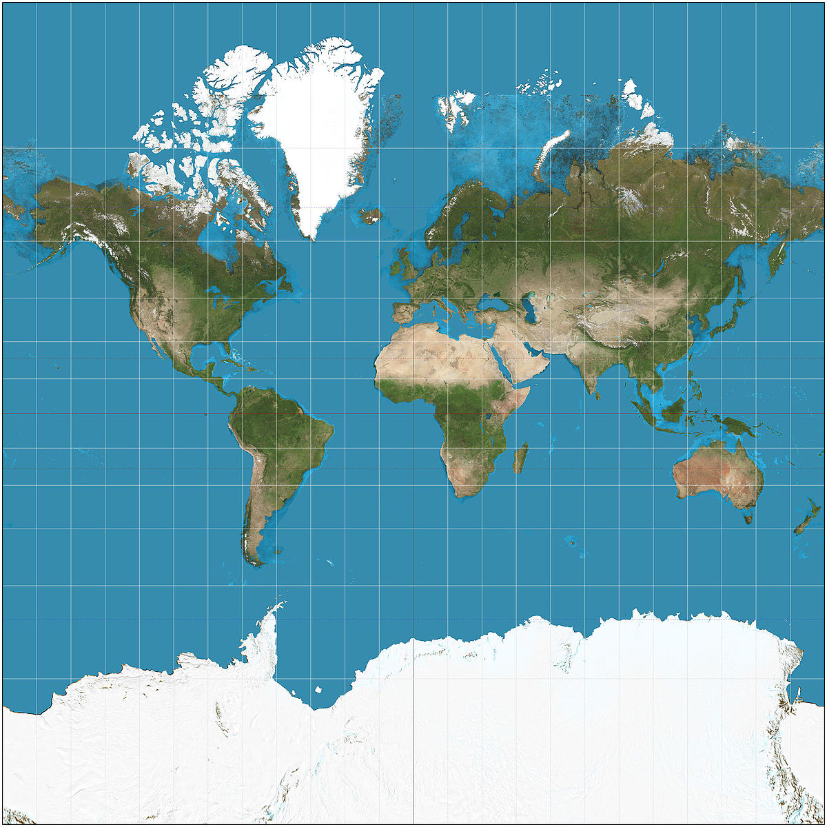 Map of the world - mercator projection