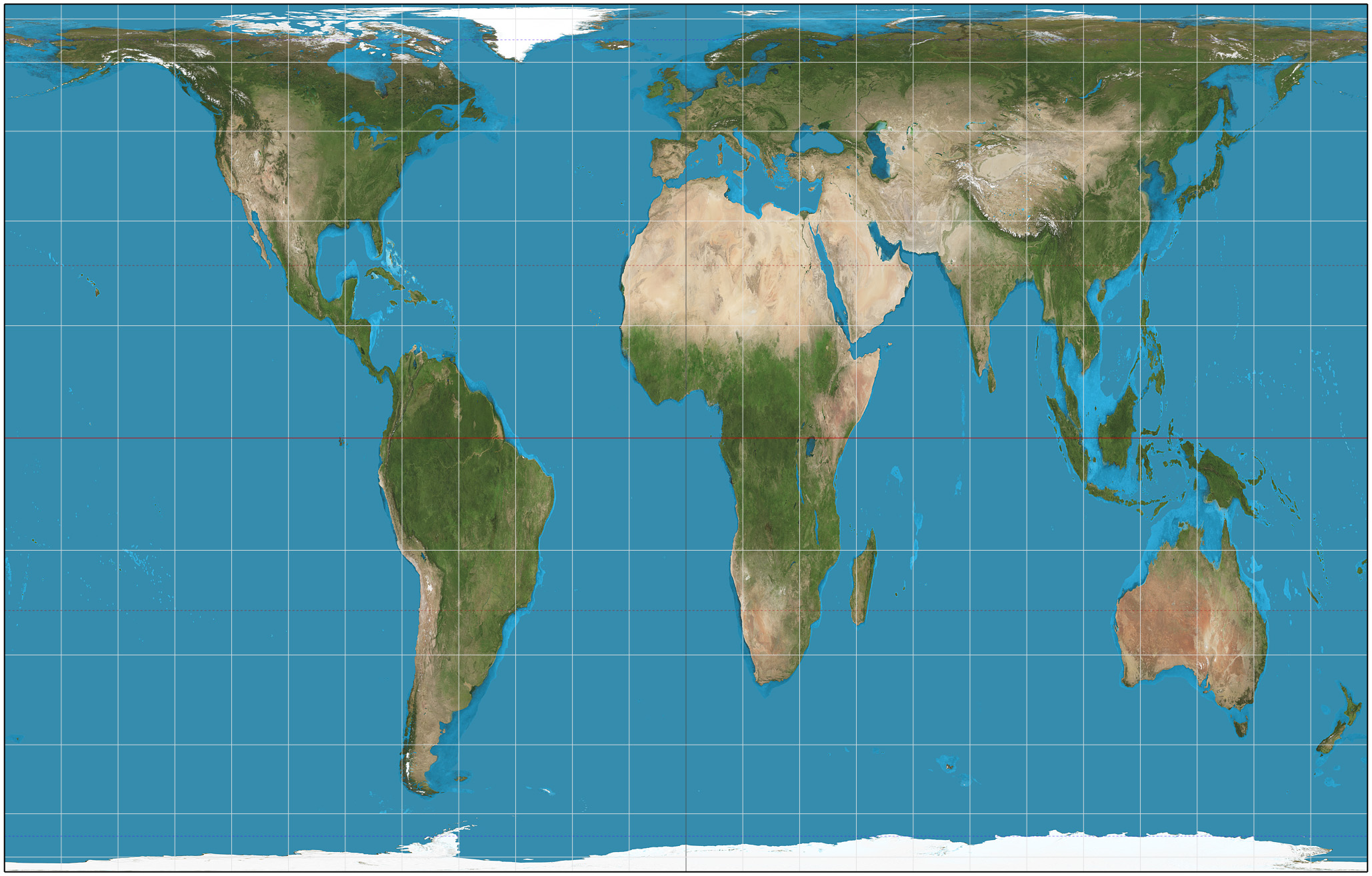 map of the world according to Gall-Peters projection shows the relative size of countries accurately