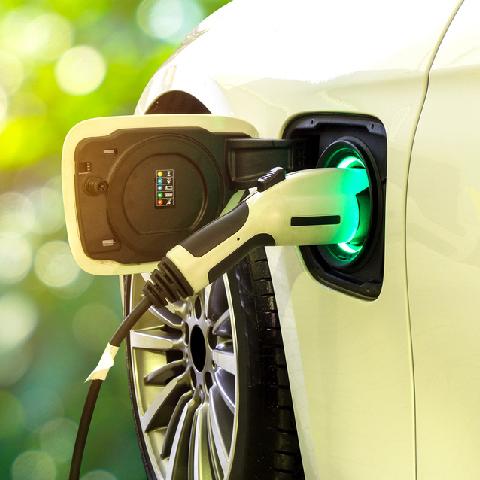 electric car charging at power bay