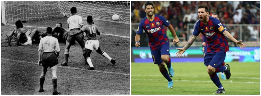 still from 1958 FIFA World Cup in black and white alongside a recent photo of the Barcelona football team in colour