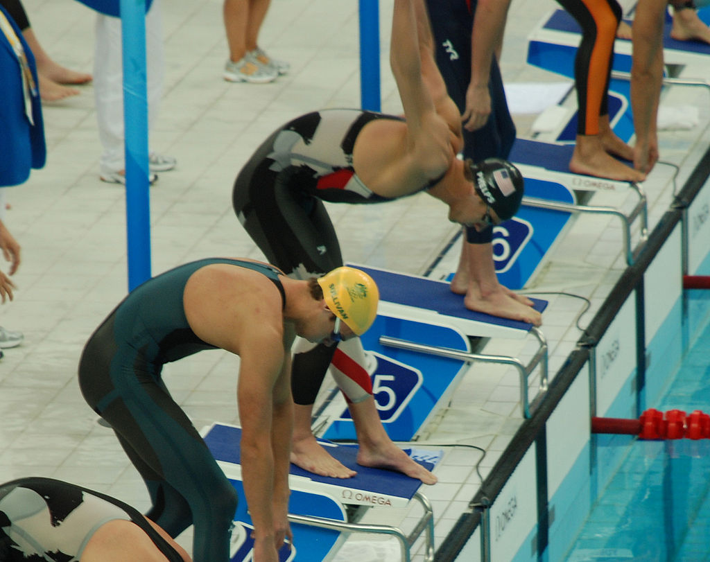 Michael Phelps wearing the LZR Racer swimsuit at the start of the 4×100 relay event at the 2008 Summer Olympics, Beijing