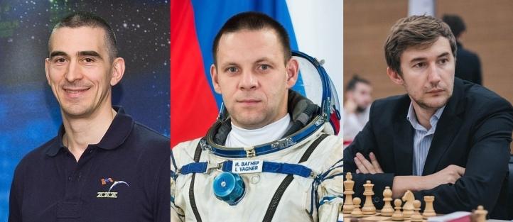 Pilot-cosmonaut Anatoly Ivanishin, cosmonaut Ivan Vagner,and  Chess Player Sergey Karjakin