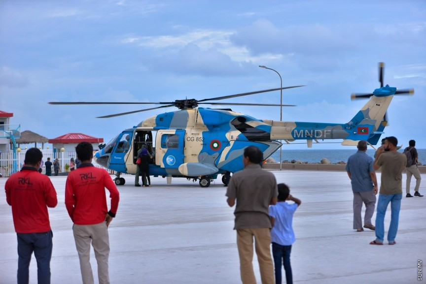 Helicopter lands at Usfasgandu for the first time on medical transport