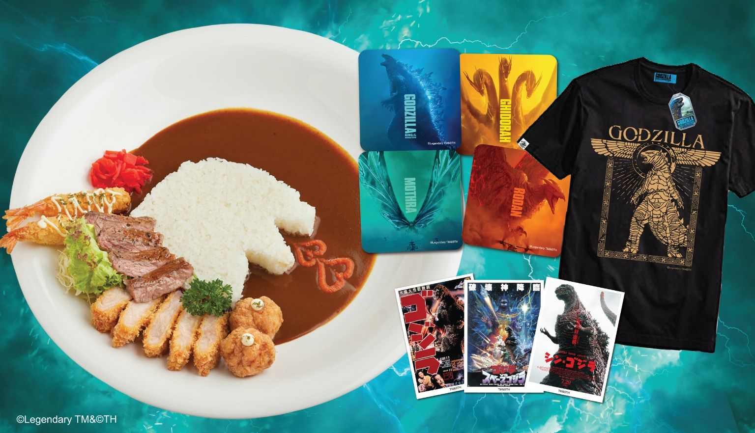 wholesale dealer 6619e 7c3cb Godzilla menu and merchandise at Monster Curry - Suntec City