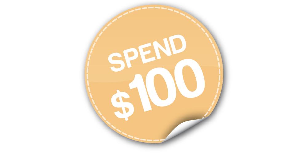 Min spend $100