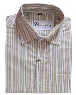 Canopus white and light brown striped Shirt