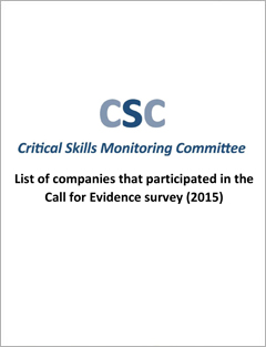 List of companies that participated in the Call for Evidence survey (2015)