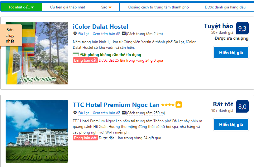 Tăng review tốt 5 sao cho khách sạn có thứ hạng cao trong danh sách tìm kiếm