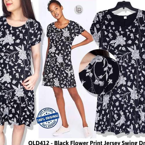 30330f249e4af RiejuFashion | J794 Oldnavy black flower print jersey swing dress B6