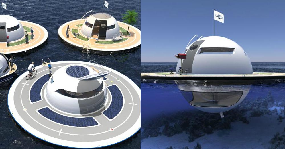【未來住屋】在海上漂浮的房子UFO:臥室如與海洋生物一同生活般夢幻