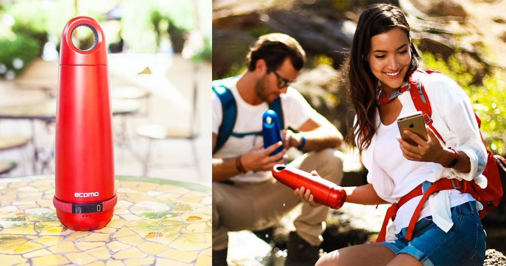 【全球首款】便攜式智能水瓶Ecomo:集合測試水質、淨水、提醒喝水三大功能