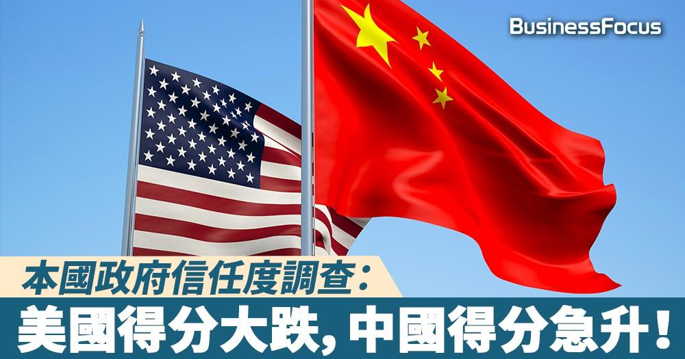 【中美爭霸】本國政府信任度調查:美國得分大跌,中國得分急升!