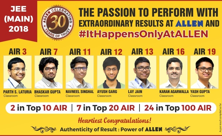 JEE Main 2018 Results from ALLEN Career Institute