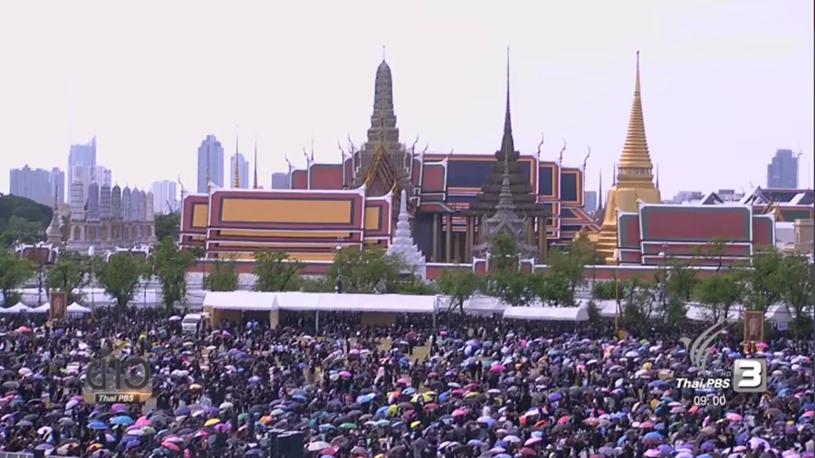 Sanam Luang now packed with hundreds of thousands of mourners coming with one...