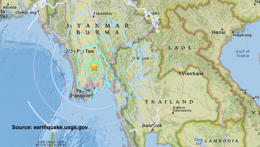 Strong quake strikes central Myanmar