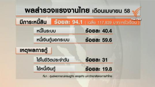 ผลสำรวจชี้แรงงานไทยหนี้พุ่ง