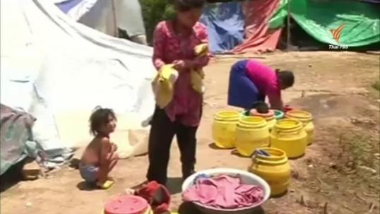 ผู้ประสบภัยแผ่นดินไหวในเนปาลขาดน้ำดื่มน้ำใช้