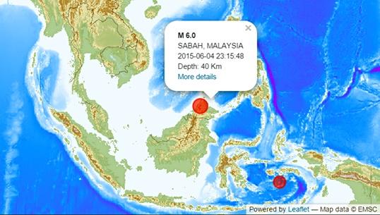 แผ่นดินไหวขนาด 6 ทางตะวันตกของรัฐซาบาห์ มาเลเซีย
