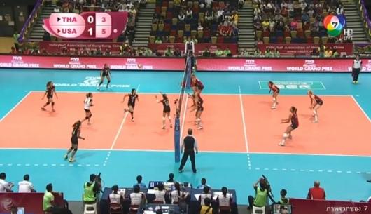 ทีมวอลเลย์บอลสาวไทยพ่ายแชมป์เก่าสหรัฐฯ 1-3 เซต ศึกเวิลด์กรังด์ปรีซ์ 2015
