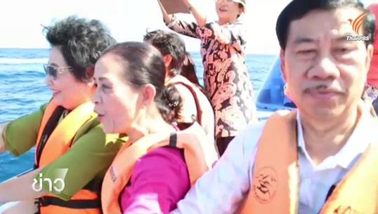 นักท่องเที่ยวประทับใจ พบโลมาปากขวดเล่นน้ำ ขณะล่องเรือไปเกาะตาชัย