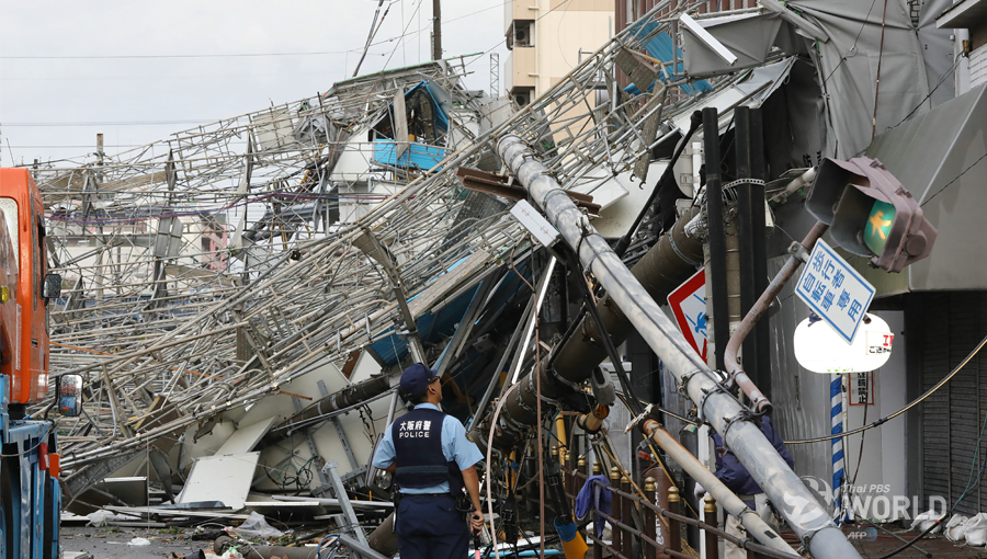 Powerful typhoon hits western Japan