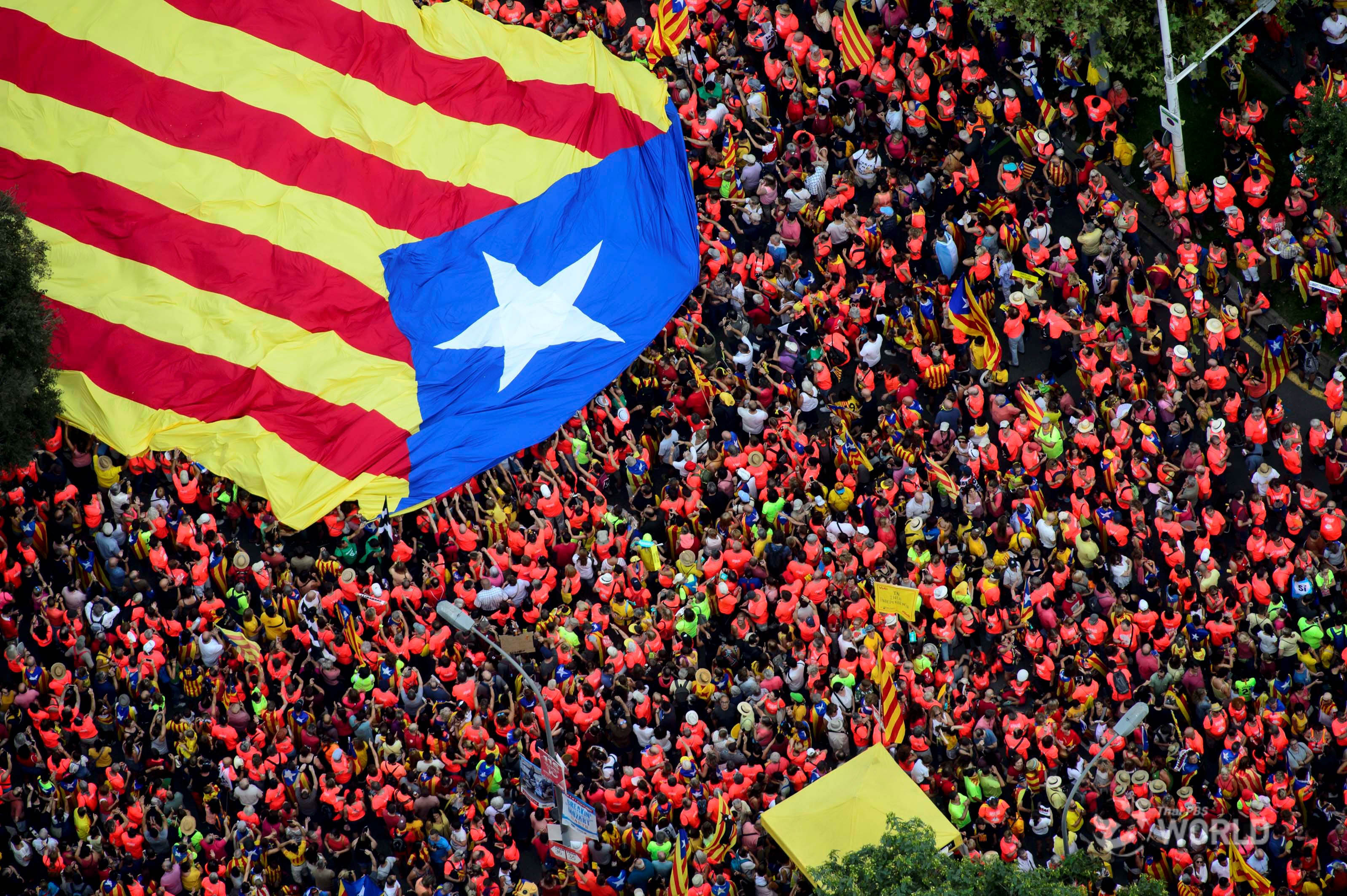 SPAIN: Catalan separatists display show of strength on Barcelona streets