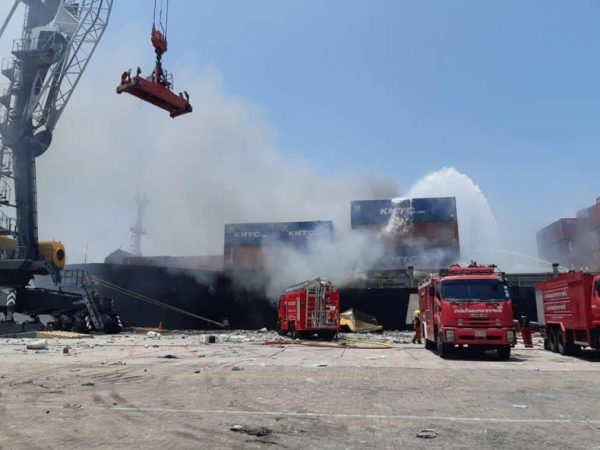 PCD officials search for source of chemicals after fire at Laem Chabang port