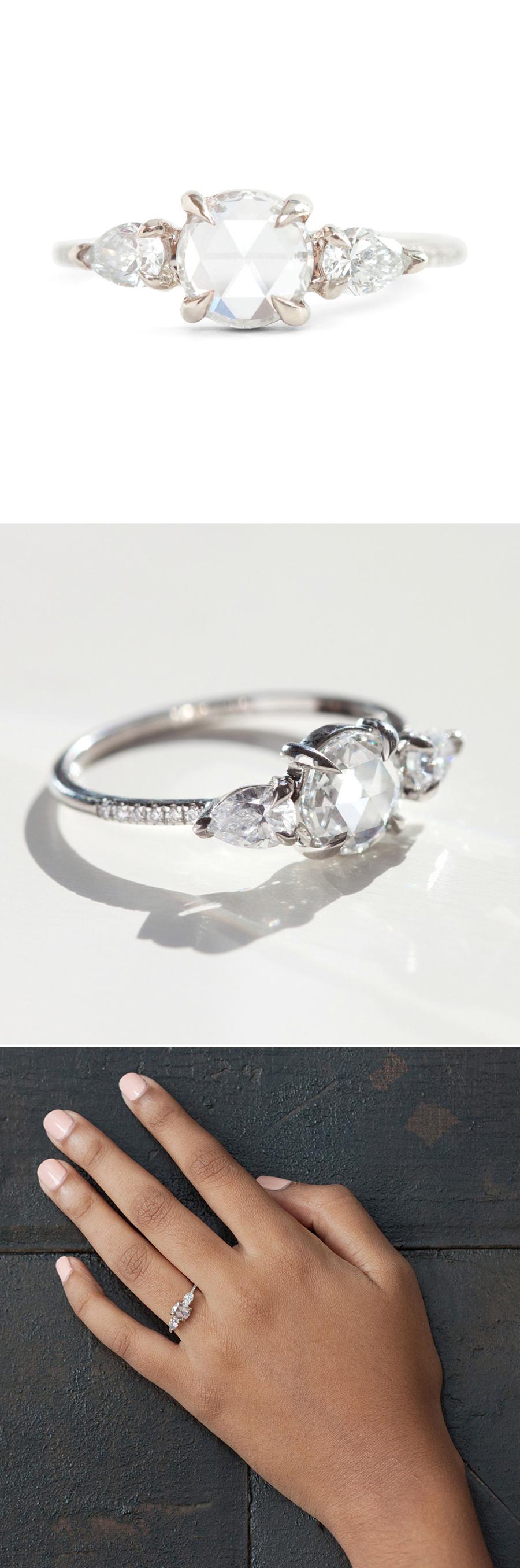 Women in Weddings Weigh in on Engagement Rings lotr wedding ring 27NatTheWeddingScoop PearGreyDiamond