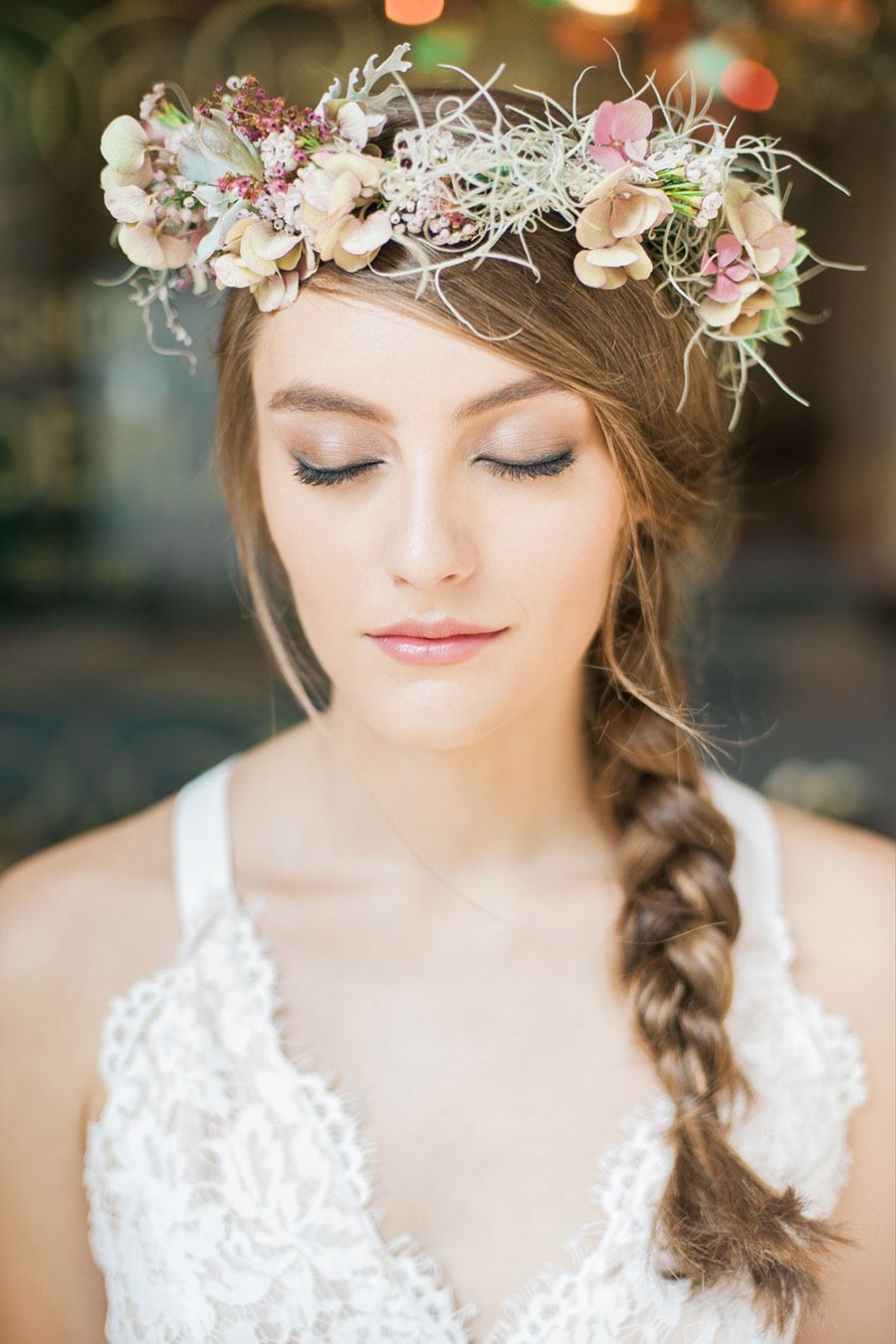 The wedding scoop floral crown by wonderland for detailed planners photography by brody tan via diy floral crown beauty shoot izmirmasajfo