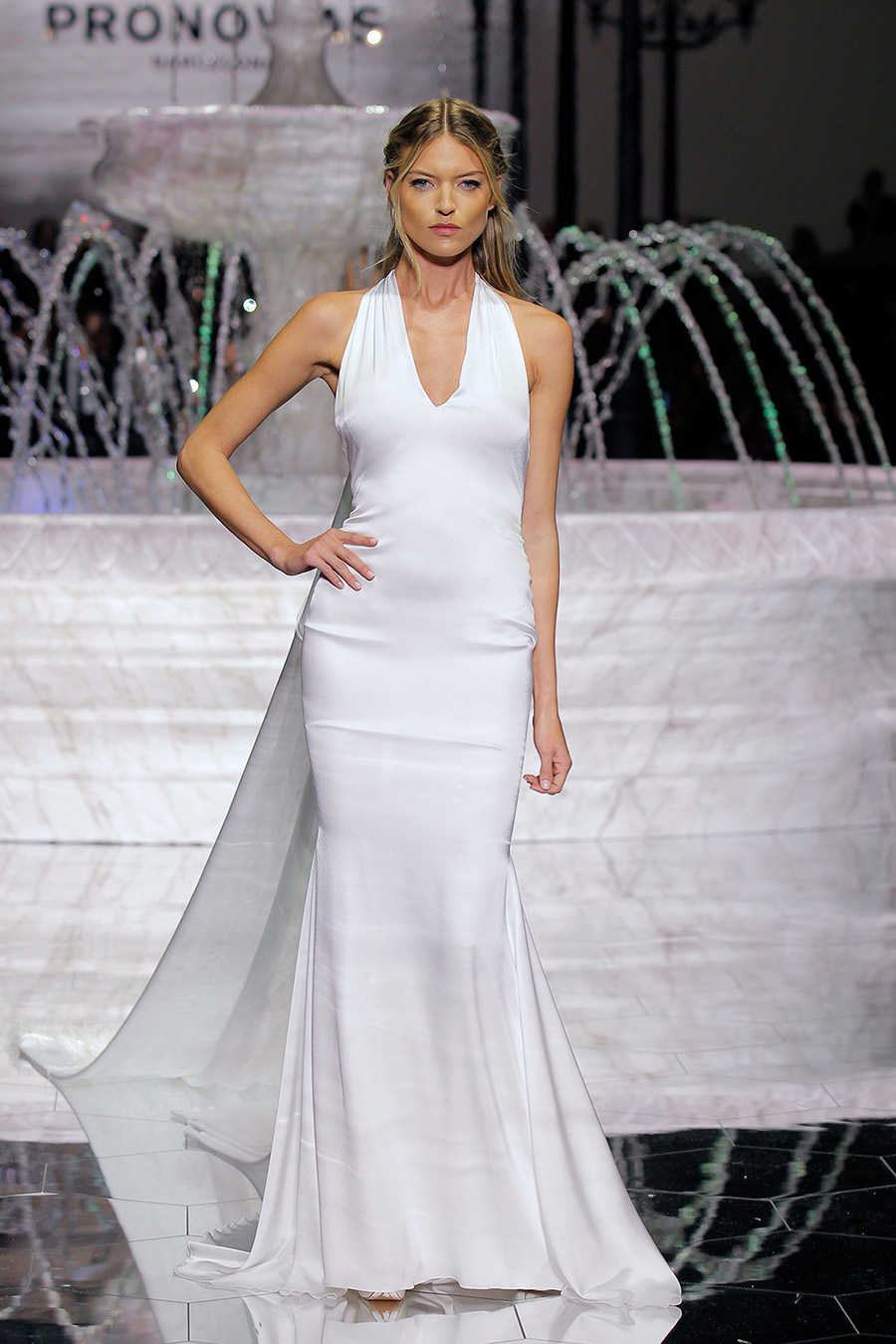 913c1bf8ac0b A word from Pronovias… This year, the firm is using crêpe with a shirred  effect to add motion to its garments and is introducing crêpe brocade, ...