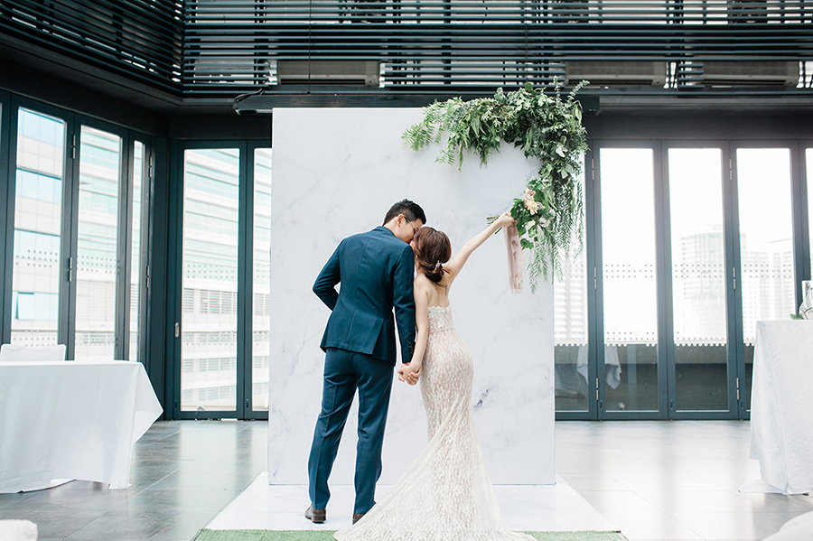 Seik Yeu and Serene's Minimalist White and Green Wedding in Malaysia