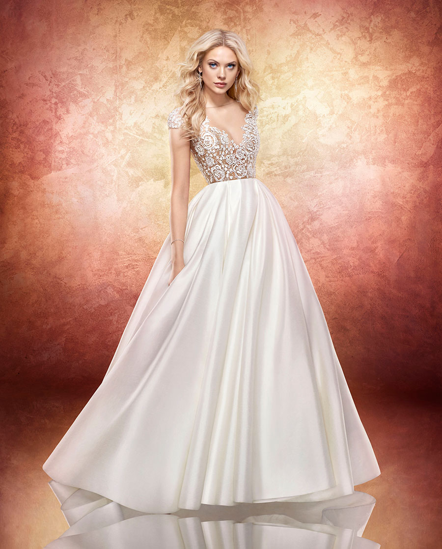 e96a0e8e7904 Ivory sparkle floral-embroidered bridal ball gown, bateau illusion neckline  with V-neck embroidery and cap sleeve, open net back with floral frame, ...