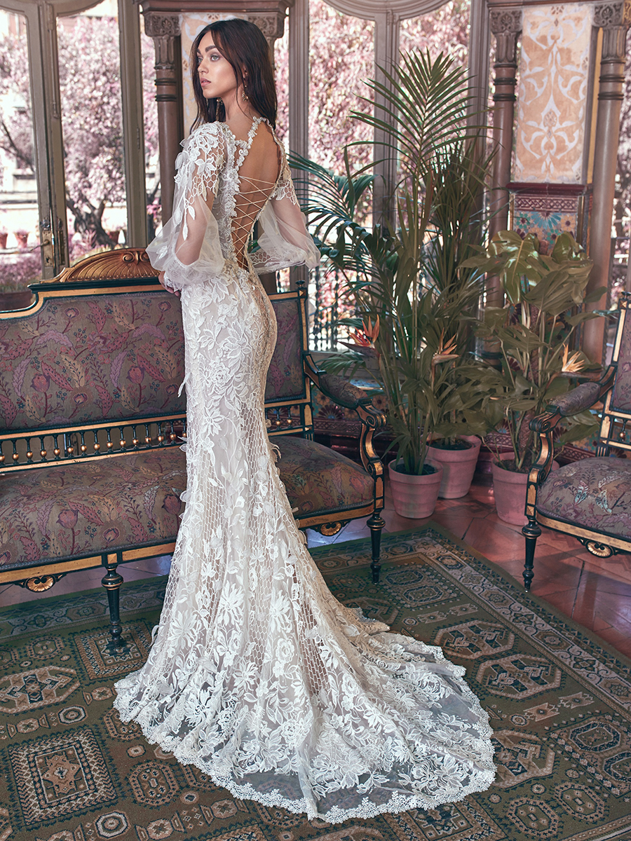 Dramatic Fit Flare Wedding Dress The Bodice Is A Combination Of Dusty Rose Background And Vintage Hand Embroidered Lace Which Combines Point